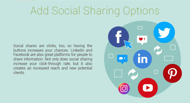Add social sharing options to your emails.