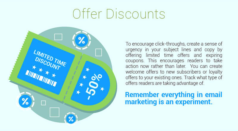 Offer discounts through your email campaigns